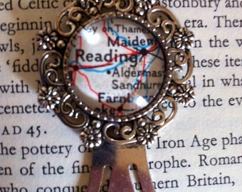 CLEARANCE! Old map of Reading glass cabochon bookmark / vintage map cabochon / silvertone /