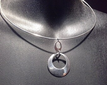 Groovy Retro Minimalist Modernist Sterling Silver Orb Circles Collar Choker Necklace Stamped 925