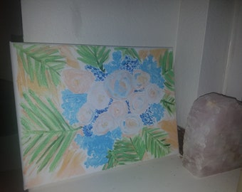 "Acrylic Hand Painted ""Tropical Flowers"" Painting Art"