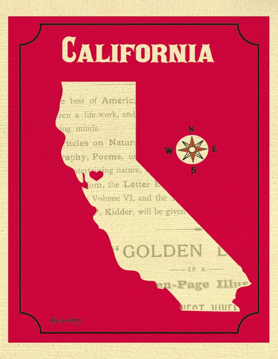 California Map Print California Heart Print California State