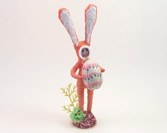 READY TO SHIP Vintage Inspired Spun Cotton Omelet Maker Bunny Boy Easter Figure Ooak