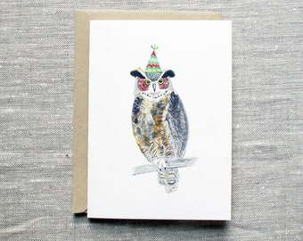 Owl Birthday Card. Owl Greeting Card. Owl with Party Hat Card. Owl Card. Simple Nature Birthday Card. Blank Nature Card. Bird Lover Card.