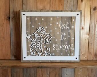 Let it Snow Snowman Christmas Sign - Let is Snow - Snowman Decor - Christmas Decorations - Rustic Snowman Sign - Metal Snowman - Christmas