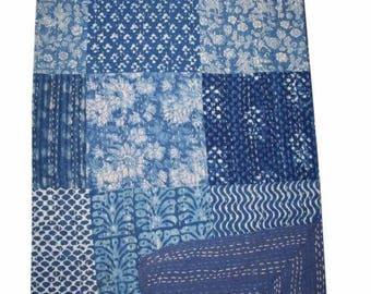 Kantha Cotton Throw Handmade Queen Quilt Bed Cover Blanket Quilt Bed Cover Queen Blanket
