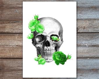 Skull With Green Flowers - Skull Print Roses Illustration Print Art Drawing Poster Digital Print Wall Art Wall Decor Wall Hanging