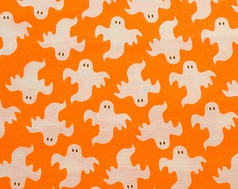 SALE -  Ghosts on Orange - 100% Cotton Fabric - 1 1/2 Yds, 1 Yd, 1/2 Yd, 1/4 Yd, and Fat Quarters                                   08/2017