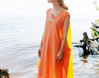 Linen dress Daya, Orange maxi dress, dress-meditation, long dress, oversize dress, boho dress