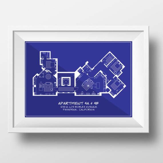 Big bang theory blueprint style art printarchitectural style like this item malvernweather Gallery