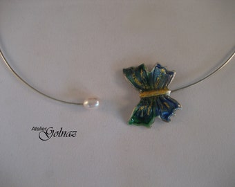One-of-a-kind, unique, hand made enameled silver butterfly
