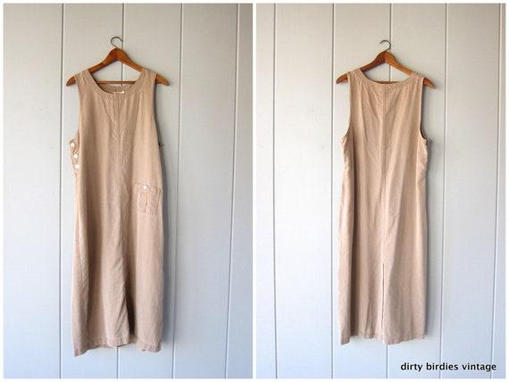 Vintage beige tencel dress   loose fit frock   long maxi dress sleeveless sundress with pockets modern minimal Summer Bib dress Womens Large