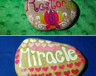 Inspirational, Hand Painted Rocks, Set of 2!
