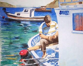 Original Watercolor Painting, Original Watercolor Artwork, Watercolor Seascape, Fisherman Watercolor, Perfect Gift