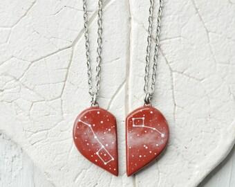 Half heart necklaces Set Valentine's Day gift Girlfriend Big dipper pendant Red Little dipper Friendship Boyfriend Constellation Ursa Minor
