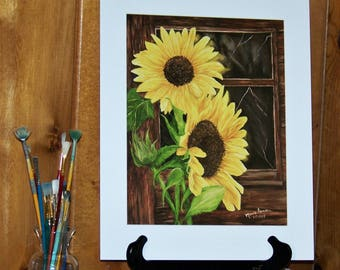 Sunflower Art Print, Floral Matted Art Print, 11x14in