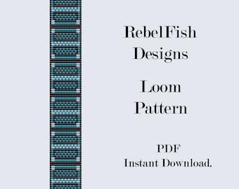 Geometric Blues. Loom Pattern. PDF. Bracelet. Bookmark.