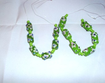 Lime Cylinder Lampwork Beads