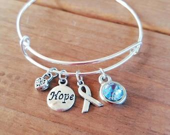 Prostate Cancer Awareness Silvertone Expandable Charm Bracelet