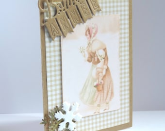 """greeting card """"happy new year"""", mother and daughter, vintage style. Kraft paper"""