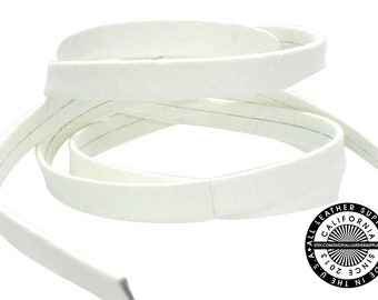 """Genuine Leather Strap, Folded White Vanilla, 6mm (1/4"""" inch) 3 yards (108"""" inches)  (1710)"""