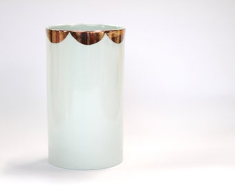 porcelain vase : glacier colour with copper scalloping