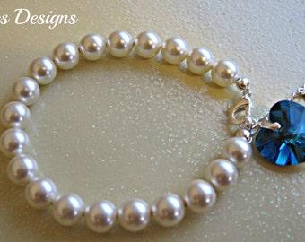 Womens Jewelry Swarovski Pearl bracelet with a Swarovski Crystal Bermuda Blue heart Pendant,  bridal party bracelet