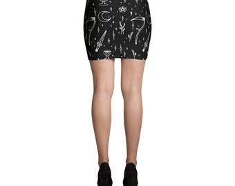 Moon Goddess Exclusive Print Mini Skirt
