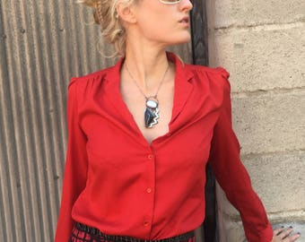 Vintage Blood Red Levi Strauss & Co Blouse