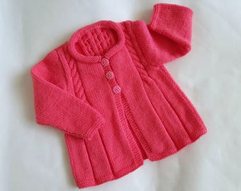 Pink knit baby cardigan, girl sweater, knitted baby clothes, baby girl's cardigan 9 to 12 months, handmade modern sweater, baby hand knits