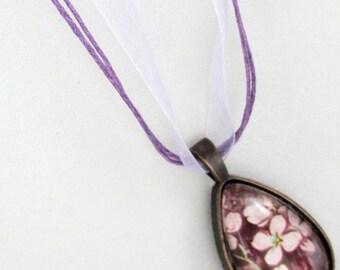 Pendant Necklace, Bronze Chain Necklace, Glass Pendant Necklace