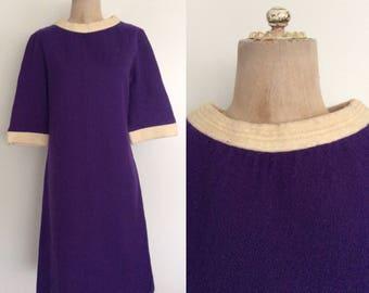 1970's Purple Wool Shift Dress Mod Retro Vintage Dress Size Medium Large by Maeberry Vintage