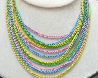 Art Deco Bib Necklace Chain Pastels Multistrand Vintage Jewelry