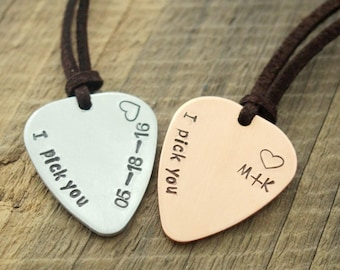 Mens Guitar pick necklace, Personalized guitar pick necklace, silver guitar pick, copper, dateboyfriend husband customized anniversary gift