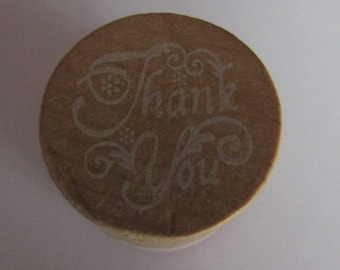 """wooden, scrapbooking, card making, """"thank you"""" stamp"""