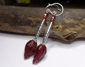 Elegant Freshwater Pearl drop earrings, artisan Lampwork, silver beads and silver plated hooks.