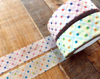 MT 2016 - Japanese Washi Masking Tapes / Dotted Dots Red or Green for journaling, scrapbooking, packaging, party deco, card making
