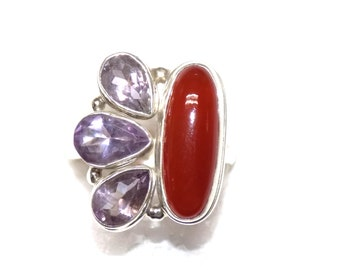 Carnelian with Amethyst Sterling Silver Ring
