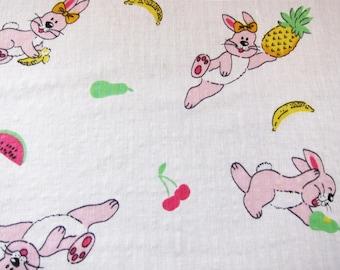 Vintage novelty cotton , fabric 40s , juvenile cotton,  rabbits and fruit,. vintage dressmaking. 1940s cotton