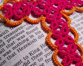 Tatting - Tatted Cross Bookmark - custom -choose your colors lace handmade