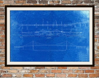 Blueprint Art of Bridge Toledo Harbor Channel Technical Drawings Engineering Drawings Patent Blue Print Art Item 0040