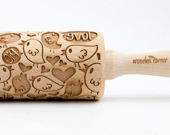 The Love Birds - embossing rolling pin, laser engraved rolling pin.