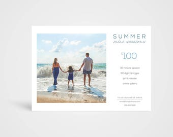 Summer Mini Sessions Template - Instant Download Photoshop Template, Photographer's Marketing Board