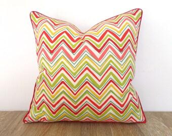 Geometric outdoor pillow cover, chevron outdoor cushion case front porch decor, multicolored throw pillow cover spring decor
