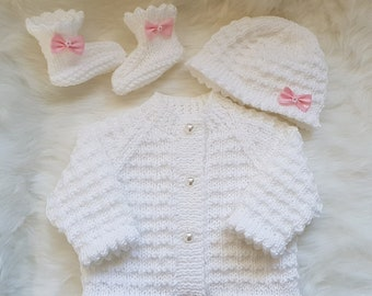 Caitlin Baby Cardigan, Hat & Booties knitting pattern *Instant Download*