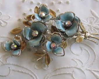 Vintage Coro Silver Tone Blue Flowered Brooch with Olive Green Leaves and Rhinestones