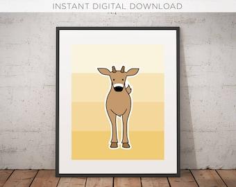 Deer Printable | Digital Download | Woodland | Nursery Art | Printable | Illustration | Instant | Kids room | Wall Decor | Woodland Critters
