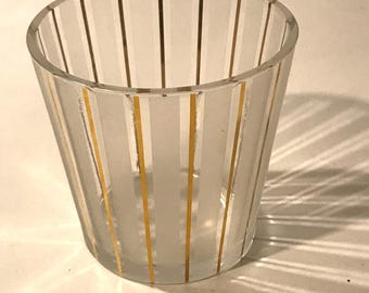Vintage Frosted & Gold Striped Ice Bucket