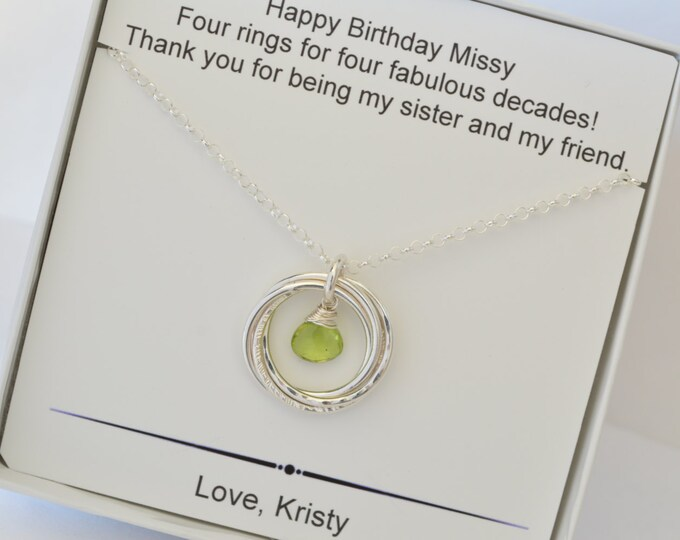 40th Birthday gift for sister, 4th Anniversary gift, Sister jewelry, Peridot necklace, August birthstone jewelry,4 Sisters, Best friend neck