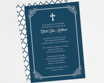 First Communion Invitation, First Holy Communion Invitation, Religious, Print, PDF, DIY Communion Invitation, Boy Invitation, Navy, Elliott