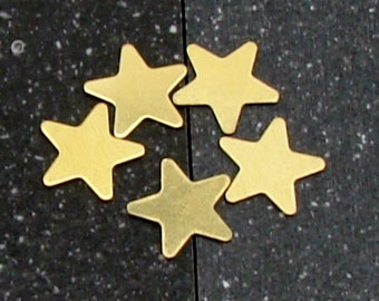 12mm Brass 5-Point Star 24 Gauge  Pack of 5