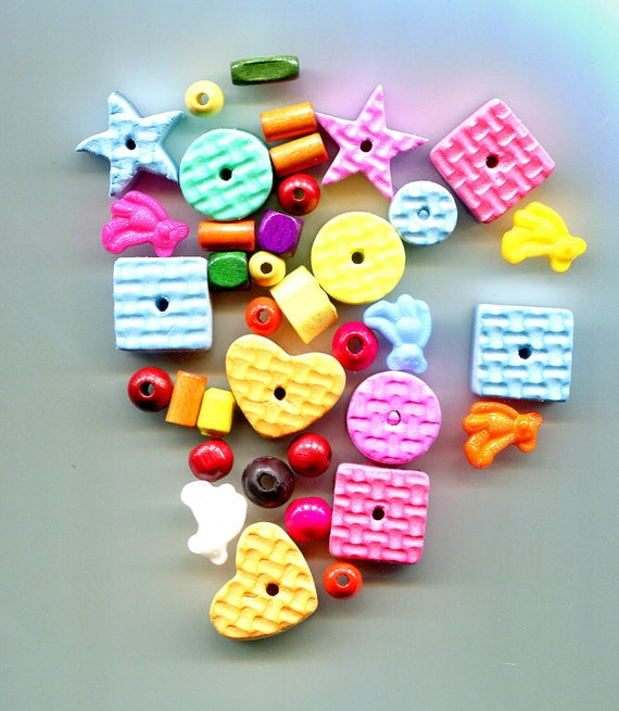 38 pc childrens foam shapes beads plastic teddy bear charms childrens jewelry childrens craft supplies